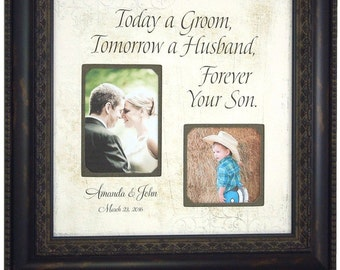 Photo Frame Personalized Wedding Gift for Parents Bride Groom Grandparents Mom Dad Father Mother Photo Mat 16x16