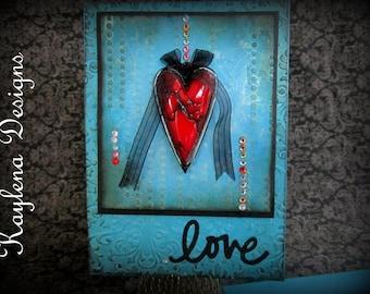 Handmade Card with Center heart, Blank Card inside