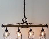 Rustic Industrial Yoke Chandelier, Modern Industrial Lighting