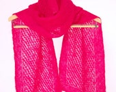 Mohair Scarf, Lace Scarf, Pink Scarf, Mohair Muffler, Hand Knit Scarf, Magenta Scarf, Red Scarf, Lace Muffler, Knit Lace Scarf