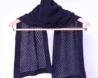 Cashmere Scarf, Lace Scarf, Navy Scarf, Cashmere Muffler, Hand Knit Scarf, Blue Scarf, Knitted Scarf, Hand Knit Lace Muffler