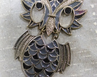 """Retro Articulated Owl Necklace with 60"""" Chain / Retro Boho Jewelry"""