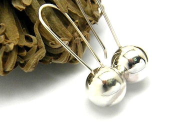 Sterling silver ball earrings, dangle ball earrings, Long contemporary earrings, simple jewelry, modernist gift for her