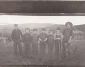 Home Field Boys- 1900s Antique Photograph- Edwardian Children Playing Baseball- Farm Dog- Real Photo Postcard- AZO RPPC- Paper Ephemera