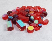 AB Red Beads, Glass Beads, Bead Mix, Bead Lot, Assorted Red Beads, 6 mm to 15 mm, 42 Pcs, Rectangle Square Round Oval, Jewelry Making Supply