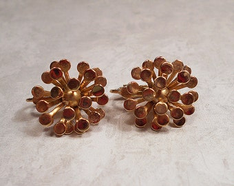 Vintage Clip on Earrings Gold Tone Flower Metal Burst Mid Century Mod Womens