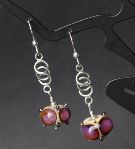 Handmade Ivory with Silver Glass Accent Dots  Lampworking Glass Sterling Silver Earrings