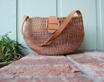 VTG Woven Leather Twine Tweed Straw Purse Shoulder Bag African Collections Pouch Grocery Hipie Boho Hobo Native Gypsy Spring Festival Kid