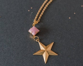Vintage Star Necklace, Gold Star Necklace, Star Pendant, Vintage Jewel, Vintage Glass Stone, Star Charm, Space Necklace, Space Jewellery