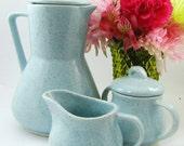 Brush McCoy Vintage Coffee Set - Tea Set, Brown Speckled Robin Egg, Aqua Blue, 1950s Atomic - 5 Pieces