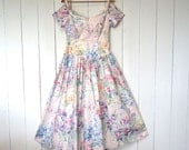 Garden Party Dress Floral Watercolor Print Scallop Off the Shoulder 1980s Does 1950s Dress Small Medium
