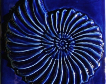 Ammonite Fossil Tile Cobalt Stoneware 6 Inch