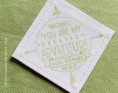 Tie Patch Groom Husband or Boyfriend • You Are My Greatest Adventure • 2nd Anniversary Cotton • Suit Label • Compass • Backpack Patch • Love