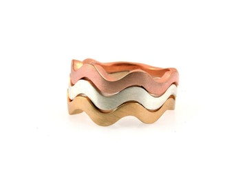 Handmade Wave Winding Stacking Bands in Sterling Silver, 14k Rose Gold and 18k Yellow Gold. Price Per Band