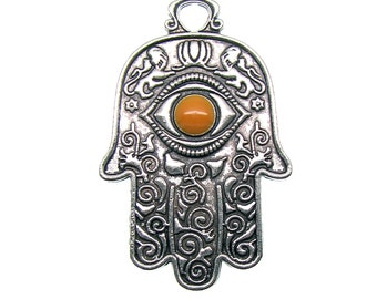 1 Large Double-Sided  Antique Silver Hamsa Pendant | Silver Ornate Hand of Fatima Pendant Evil Eye Pendant -- 95407.A39