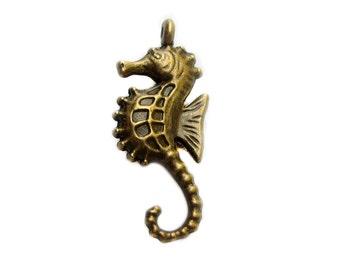 Antique Bronze Sea Horse Charms | Sea Horse Pendants | Seahorse [Choose 1 piece or 10 pieces] --  44712.J1D