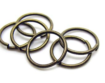 14mm Jump Rings : 100 pieces Antique Bronze Open Jump Rings 14mm x 1.2mm (17 Gauge) -- Lead, Nickel, & Cadmium free  14/1.2