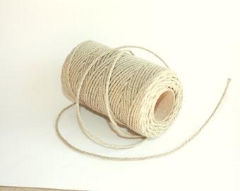 2 mm Elegant Linen Yarn - Natural Color - 1 Spool = 55 Yards = 50 Meters
