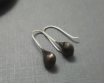 Black Sterling Silver earrings - tiny earrings - black silver dangles - teardrop earrings - minimalist earrings - simple everyday earrings