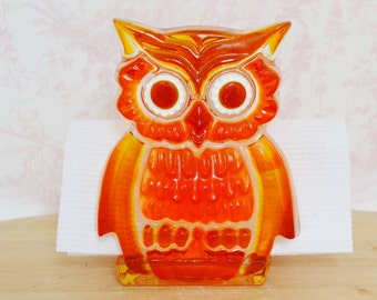 Vintage Lucite Owl Napkin Holder in Orange and Yellow by Design Gifts