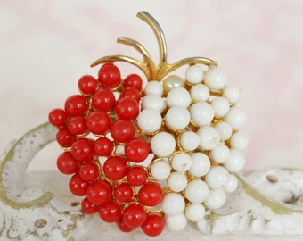 Vintage Apple Brooch with Red and White Plastic Beads