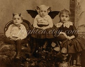 Halloween Decor, 8x10 Print, Vintage Halloween, Creepy Children, Halloween Wall Art, Weird Art, Party Decoration