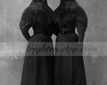 Crow Art Print, Twin Sisters, Halloween Decor, Mixed Media Collage, Gothic Art, Halloween Decoration, frighten