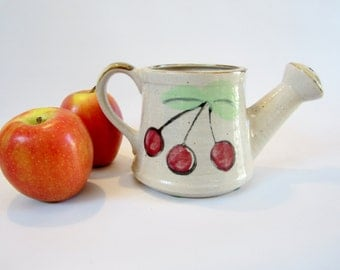 Vintage Watering Can Mini TRIPLE CHERRY Ceramic JAPAN