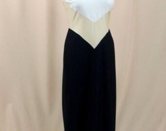 Alfred Weber Evening Gown * Cream and Black Cocktail Dress * Black Maxi Dress * 60s Dress * 1960s Dress * Wedding Dress * Chevron Dress