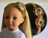 """Doll & Me Headband Brown and Ivory Floral Flower w/ Rhinestone Center Girl and 18"""" Doll Hair Accessory Christmas Gift Autumn Back to School"""