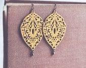 boho mustard filigree drop earrings