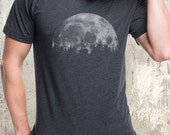 Men's T-Shirt - Cabin & Moon - Screen Printed Men's American Apparel T-Shirt - Heather Black