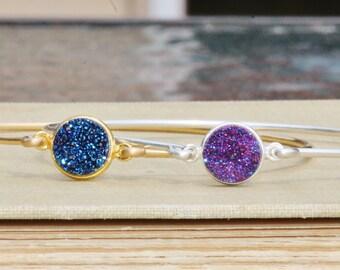 NEW Genuine Druzy Stacking Bracelets,Druzy Gemstone Bezel Connector Bangle Bracelet,Sterling Silver or Gold Filled,Navy Blue,Purple Druzy