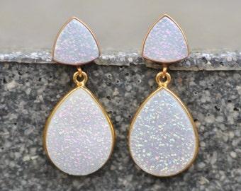 ONLY PAIR Genuine White Rainbow Druzy Gemstone Earrings,White Druzy Stud Post,14K Gold Bezel Drusy Drop,Geode,Natural Crystal,Trillion,Long