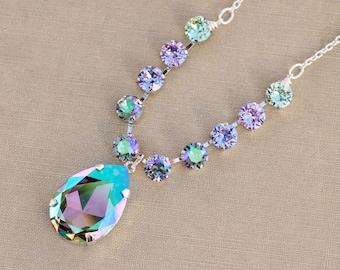 NEW Crystal Paradise Shine Lavender Purple Rainbow Tennis Necklace,Tennis Crystal Bar,Large Pear Teardrop Pendant,Silver,Swarovski Crystal