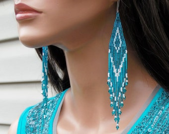 Extra Long Earrings - Blue Zircon with White - Shoulder Duster Earrings - Teal & White - Beaded Fringe - Statement Jewelry - Gypsy Earring