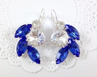 Sapphire Earrings, Cobalt Blue Swarovski Crystal Wedding Earrings, Large Statement Bridal Earrings, Prom Jewelry