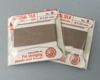 Natural Silk Cord With Needle - 2 packs - Size 8 - Beige