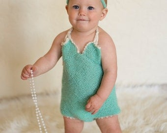 Knit Romper Newborn Photo Prop Pattern ~ Knit Summer Baby Romper Pattern ~ Knit Romper Baby Prop Pattern ~ Knit Baby Romper Pattern