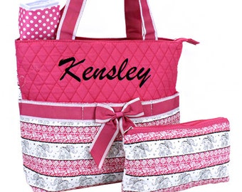 Personalized Diaper Bag Quilted Tote Bag Set Elephants