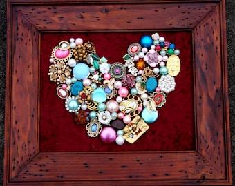 Wedding Decor Heart jewelry brooch custom frame