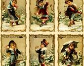"Large Stickers (each sticker 2.5""x3.5"", pack 8 stickers) Scrapbooking Craft Vintage # Children in the Snow FLONZ 234"
