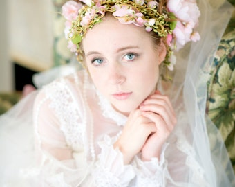 Pink Floral wedding headpeice floral hair vines