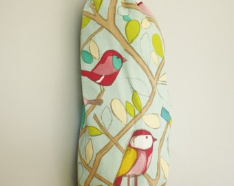 Plastic bag holder, for storing plastic bags, recycling in the eco-kitchen, upcycled kitchen decor, aqua birds