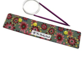 """Large Pretty Colorful Flowers on Green Background Knitting Needles DPN Circular Project Holder for needles up to 9-1/2"""" long S210"""
