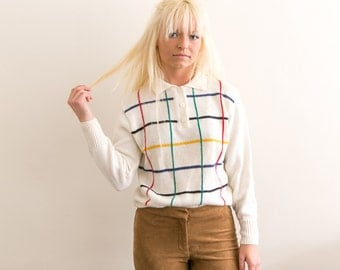 50s Mod Sweater / Knit Collared Sweater / Multicolor White Long Sleeve Knit Polo / Vintage 50s Knit Sweater / Small Medium Large