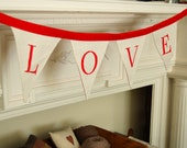 LOVE Banner -Valentine Bunting/ Valentine Decor/ Banner (Red and White Love Bunting)
