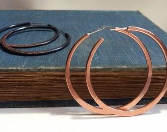 Copper Hoop Earrings - Reversible Two-In-One Design - Custom Handcrafted Hoops - Sterling Post