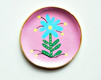pink and gold trinket dish clay ring dish  flower dish hand painted polymer clay dish boho decor