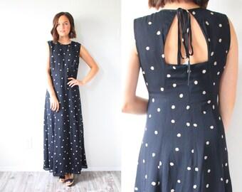 Vintage black polka dot maxi dress // open back black summer dress // 80's dress // modest maxi dress // polka dot dress / summer long dress